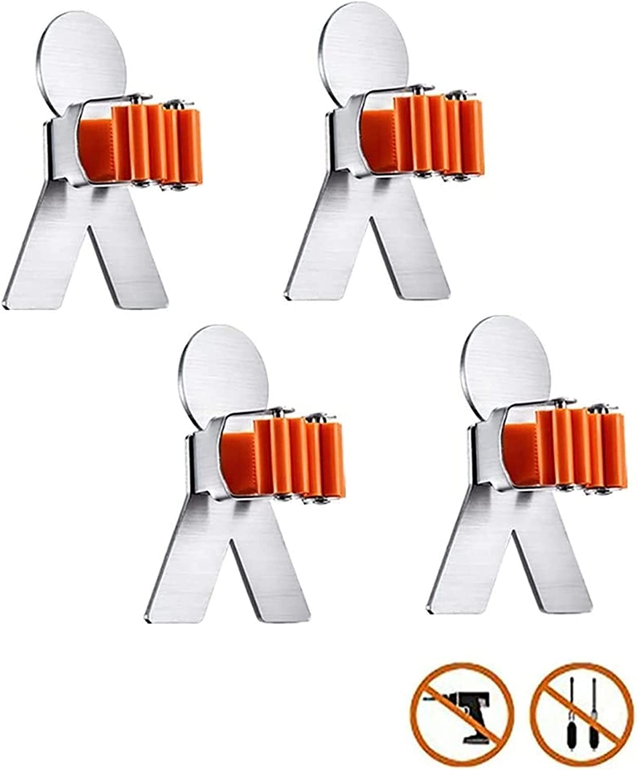 National products Broom Holder Wall Mounted Duty Mop Indefinitely Stainless Heavy