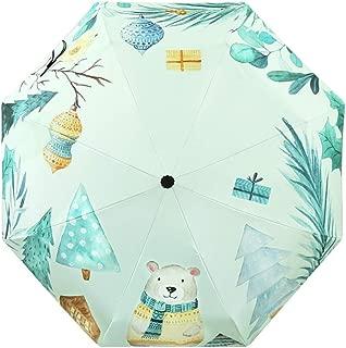 Sun Protection Umbrellas UV Protection Umbrellas Rain and Rain Dual-use Household Umbrellas Folding Umbrellas Three Colors Available Huhero (Color : Green)