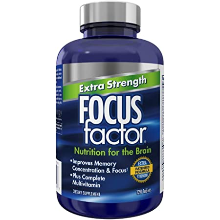 Focus Factor Extra Strength - Memory, Concentration and Focus - DMAE, Vitamin D, DHA, Bacopa and Much More - Trusted Clinically Tested Brain Health Supplement, 120 Count