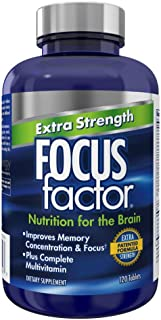 Focus Factor Extra Strength - Memory, Concentration and Focus - DMAE, Vitamin D, DHA, Bacopa and Much More - Trusted Clini...