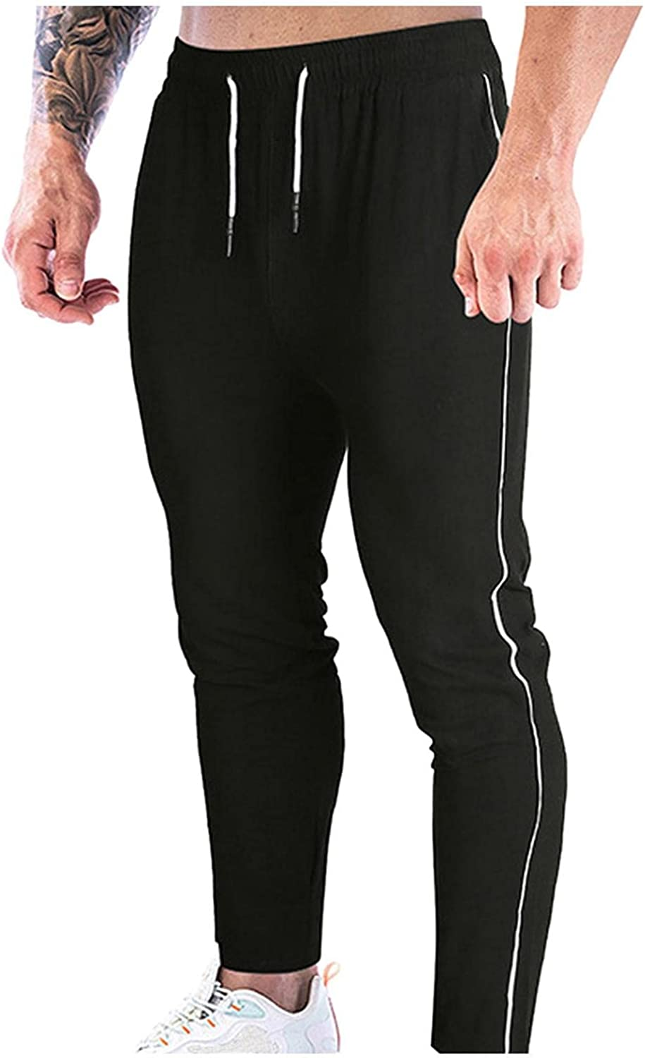 Beshion Sweatpants for Men Casual Joggers Athletic Yoga Pants Mid-Waist Slim Fit Lightweight Workout Tapered Trousers