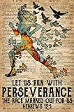LINQWkk Cartel retro de metal con texto en inglés 'Let Us Run With Perseverance The Race Marked Out For Us' (20,3 x 30,5 cm)