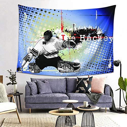 FOURFOOL Tapiz,Telón de fondo de estilo retro de semitono con figura de jugador, copos de nieve y silueta de paisaje urbano,Decoración de la Pared Manta Arte de la Pared Tapiz Dormitorio Sala de Estar