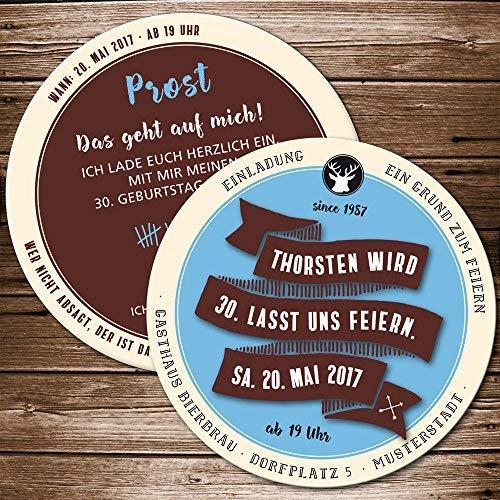 Echte Bierdeckel als Einladung zum Geburtstag (50 Stück) Retro blau, braun Einladungskarte als Biermarke …