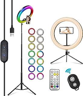"""2NLF ArodeLuz para Movil 10"""" RGB Anillodeluz LED con Trípode Soporte 53"""" Altura Regulable 26 Colores 10 Brillos Regula..."""