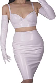 Latex Women Long GLOVES PU Leather Patent White Color Opera Elbow Short Wetlook Evening Party