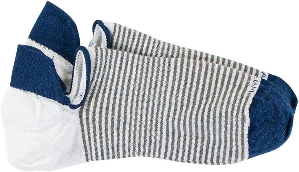 Marcoliani Milano Mens Invisible Touch No Show Pima Cotton Stripe Sneaker Socks
