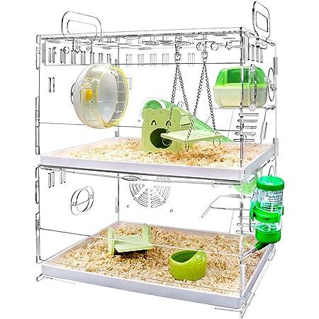 YOKITOMO ハムスターケージ フクロモモンガ ケージ 透明 トレーデザイン お掃除しやすい! 通気 2階デザイン 持ち運びやすい アクリル製 (緑色)