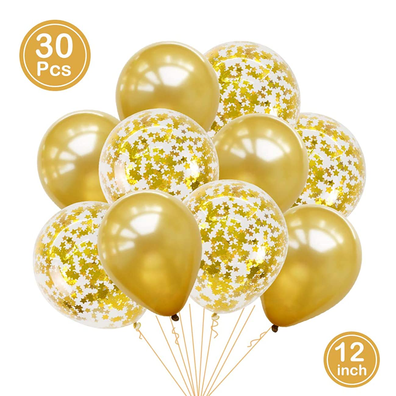 BALONAR 30pcs Gold Star Pre-Filled Confetti Balloons Party Gold Latex Balloons with Gold Star Confetti Latex Balloons for Birthday Party Wedding Supplies Decorations
