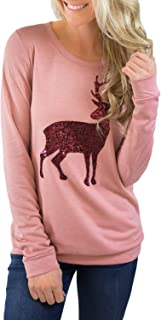 Women Christmas Loose Long Sleeve Front Sequin Deer Tops Blouses