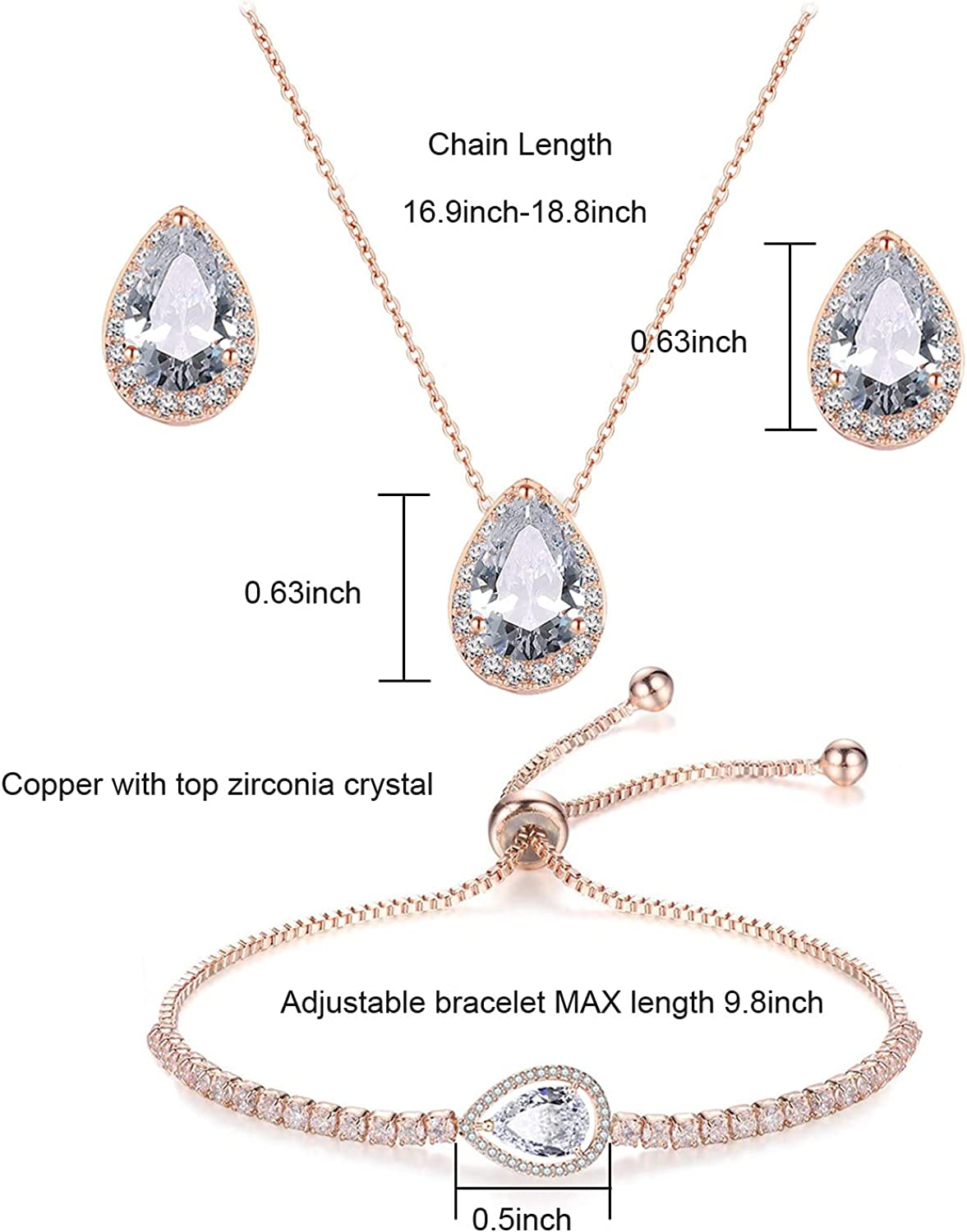 UDYLGOON UDORA CZ Tearsdrop Earrings Necklace Jewelry Set for Bridal Bridesmaids