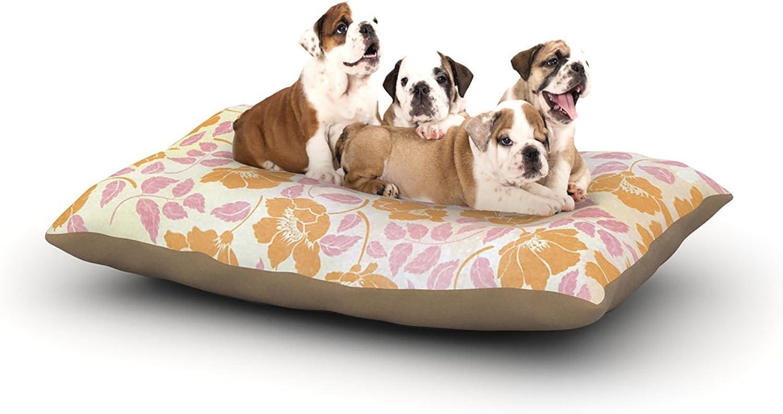 Kess InHouse Heidi Jennings Sun Kissed Petals  Dog Bed, 50 by 60Inch, orange Pink