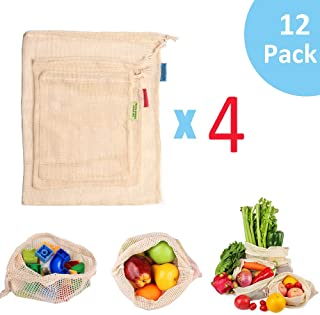 GOTONE 12 Pack Eco Friendly Reusable Produce Bags, Biodegradable and Machine Washable Organic Cotton Mesh Bags for Grocery...