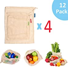 GOTONE 12 Pack Eco Friendly Reusable Produce Bags, Biodegradable and Machine Washable Organic Cotton Mesh Bags for Grocery Shopping and Storage with Tare Weight on Tags (4S+4M+4L)