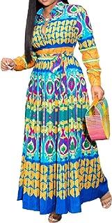 neveraway Women V Neck Empire-Waist Long-Sleeve Floral Print Shirts Maxi Dress