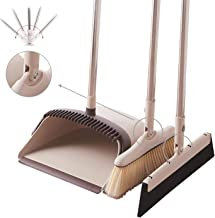 Broom and Dustpan Set Bathroom Cleaner Broom and Dustpan Set with Squeegee Soft Broom Stand Up Dustpan Cleaning Tools