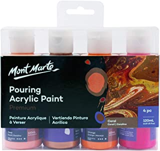 Mont Marte Premium Acrylic Pouring Paint Set, Coral, 4 x 4oz (120ml) Bottles, Pre-Mixed Acrylic Paint, Suitable for a Variety of Surfaces Including Stretched Canvas, Wood, MDF and Air Drying Clay.