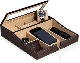 SNAK Brown Leather Valet Storage Box for 3 Watches,Cufflinks, Change and Phone Tray