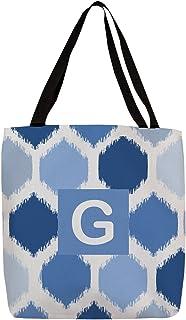 Manual Woodworkers & Weavers Shopping Tote Bag, 16-Inch, Monogrammed Letter G, Blue Batik