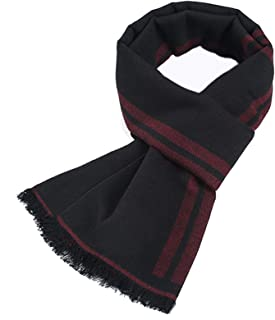 Gnzoe Mens Scarf Winter Warm, Cozy Long Soft Cotton Lattice Scarf for Men - 72 x 12 inch