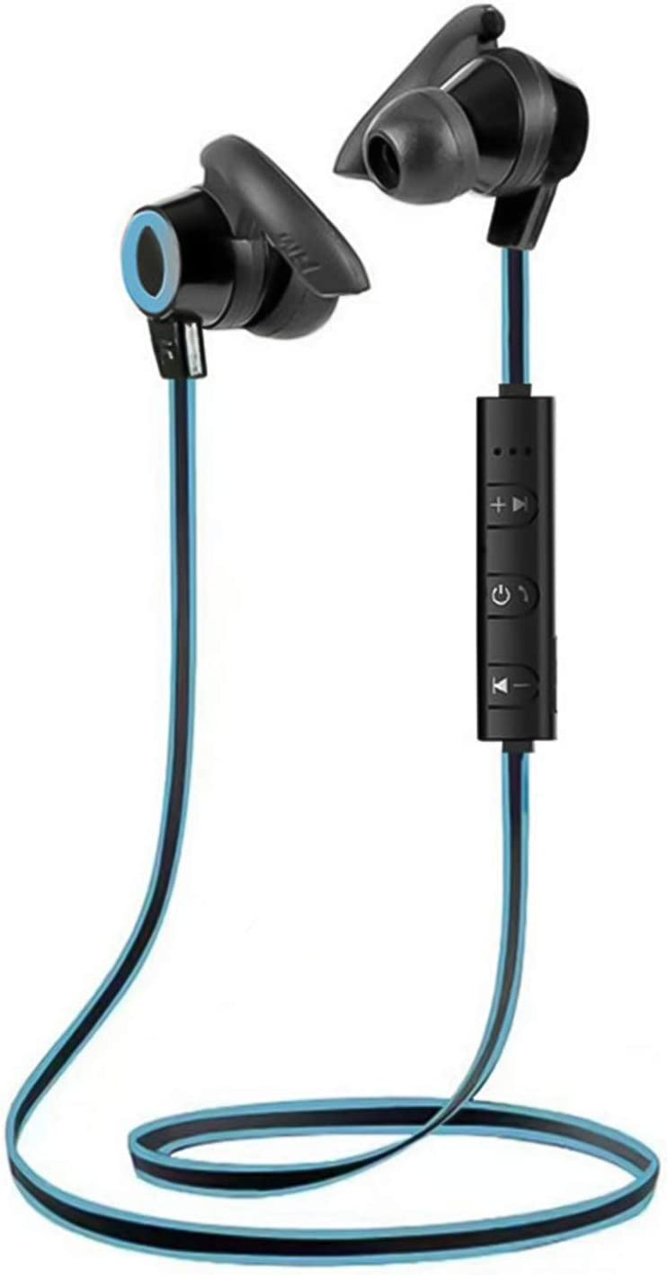 LUYANhapy9 Wireless Bluetooth 5.0 Earphones,Neckband Sports Headset with Microphone Noise Cancelling Stereo Bass Earbuds Rechargeable in-Ear Sport Earphone for Work, Home Office Black Blue One Size