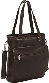 (Chocolate) - Piel Leather Laptop Tablet Carry-All Tote, Chocolate, One Size