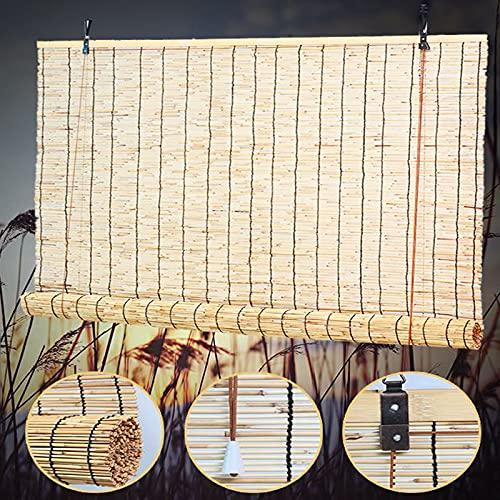 Geovne Persiana de Bambú Translúcida,Rollo Bambú Ventanas Retro,Estores de Bambú Natural,Cortina de Caña Tejidas a Mano,Sistema de Elevación,para El Hogar Y El Jardín Anti-UV (W110xH220cm/43x87)