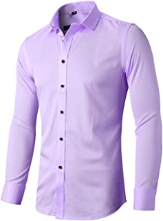 FLY HAWK Mens Dress Shirts, Slim Fit Long Sleeves Elastic Bamboo Fiber Button Down Shirts