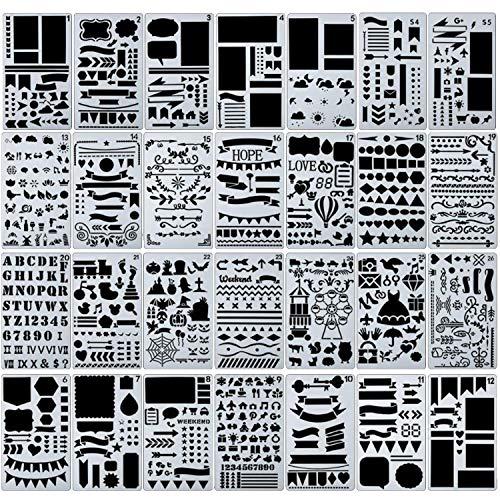 54 Stück Bullet Schablone Set Journal Planer Schablonen für Notizbuch
