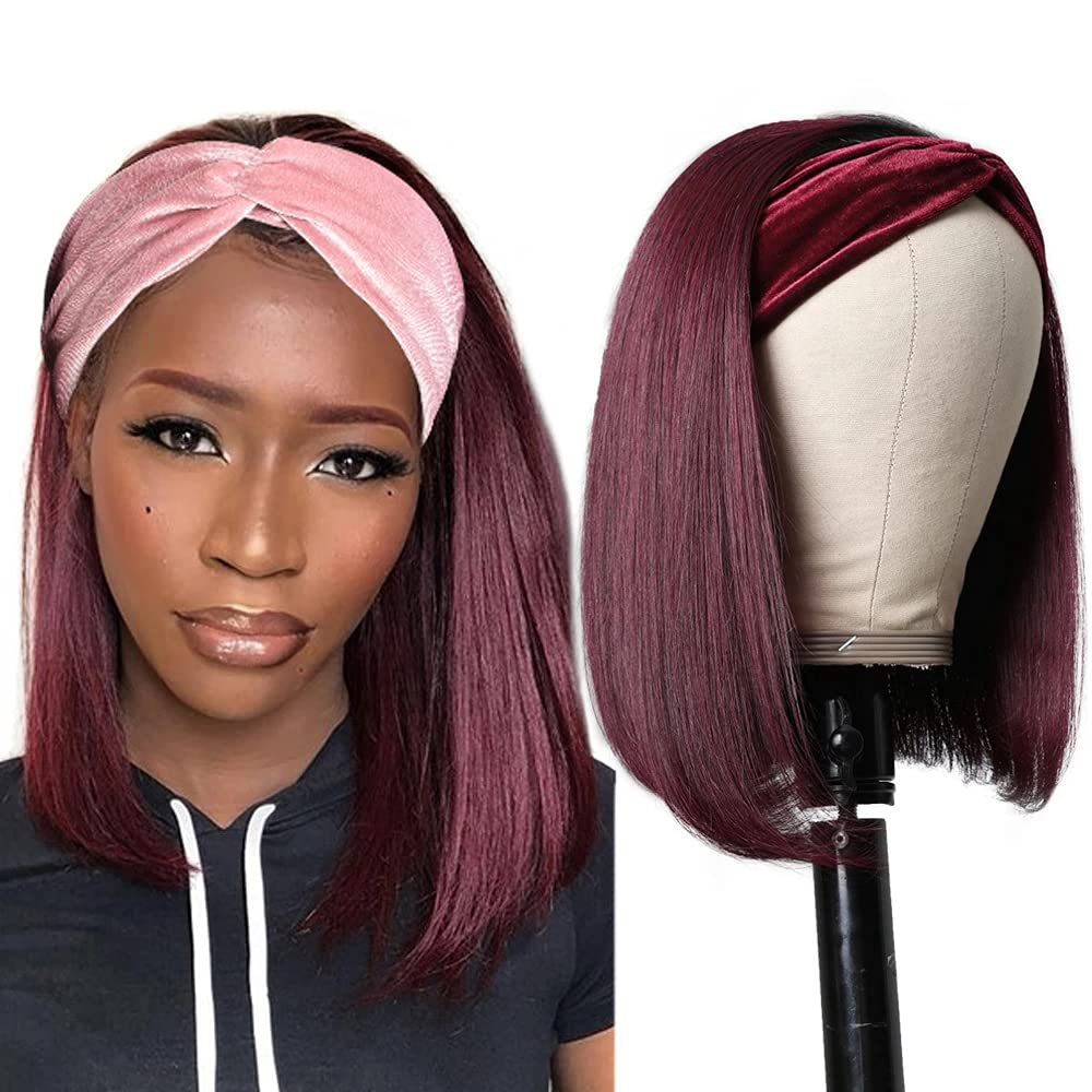 Straight Colored Department store Headband Bob Human Hair Wig Tampa Mall Om for Black Women