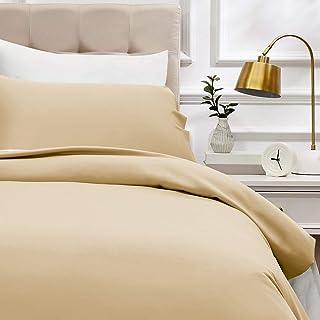 AmazonBasics - Bettwäsche-Set, Fadendichte 400, Baumwollsatin, 135 x 200 cm und einem Kissenbezug, 50 x 80 cm, beige
