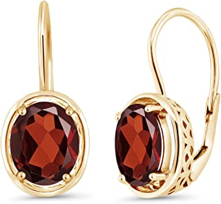 Gem Stone King Red Garnet 18K Yellow Gold Plated Silver Dangle Earrings, 3.60 Cttw Oval 9X7MM