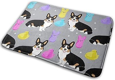 "Tri Corgi Easter Dog Peeps - Peeps, Dog, Corgi, Cute Dog, Dogs - Grey_28101 Doormat Entrance Mat Floor Mat Rug Indoor/Outdoor/Front Door/Bathroom Mats Rubber Non Slip 23.6"" X 15.8"""