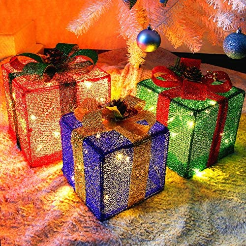 Twinkle Star Set of 3 Christmas Lighted Pop Up Gift Boxes Decorations Tinsel Present Box Pre product image