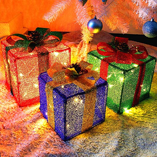 Twinkle Star Set of 3 Christmas Lighted Pop Up Gift Boxes Decorations, Tinsel Present Box, Pre-lit 60 LED Light Up Tree Skirt Ornament, Indoor Outdoor Red Green & Blue for Holiday Party Xmas Home Yard