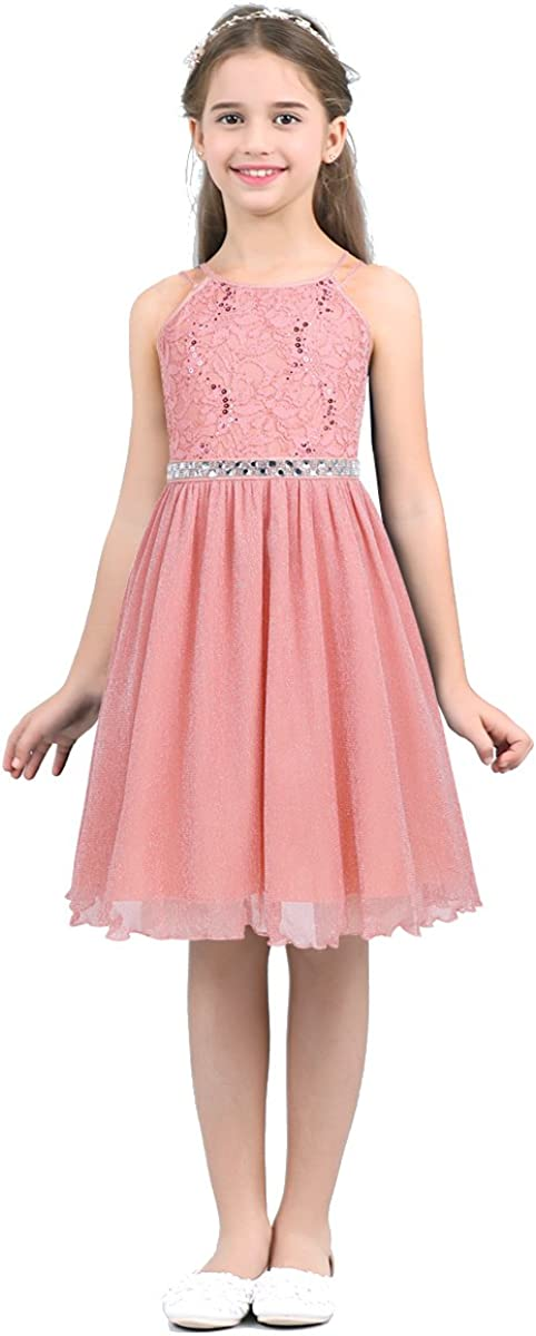 Hansber Kids Girls Sleeveless Sequined Floral Lace Shiny Dress Wedding Pageant Birthday Party Gown