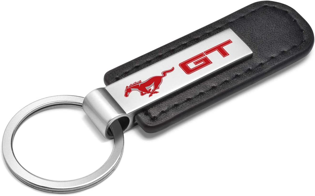 Red Ford Black Leather Strap Key Chain iPick Image Mustang GT