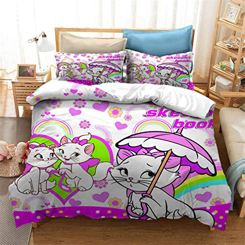 3D Mary Cat Printed Duvet Cover Bedding Set With 1/2 Pillowcases Microfiber Adult Children's Single Double King Duvet Cover Set (Mary Cat 05,King)