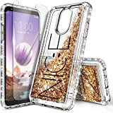 NZND Case for LG Stylo 5, Stylo 5X/ Stylo 5V/ Stylo 5+ Plus with Screen Protector, Sparkle Glitter Flowing Gold Liquid Quicksand with Shiny Bling Diamond, Women Girls Kids Cute Phone Case Cover -Nice