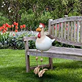 Huhu833 Keramik Huhn Gartendeko, Tierfigur Gartenstecker Handarbeit Ornament, Gartendeko Huhn Deko,Handarbeit Gartenstatue Dekorative Henne Huhn Gartenstecker,Gartenfigur (Braun)