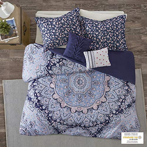 Intelligent Design Cozy Comforter Casual Boho Medallion Floral Design Modern All Season Bedding Set with Matching Sham, Decorative Pillow, Twin/Twin XL, Odette Blue 4 Piece