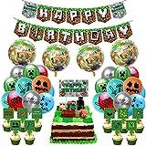 Decoración para fiestas de cumpleaños con temática de píxeles que incluye pancartas Happy Birthday y toppers, globos y cintas, para fiestas temáticas de Minecraft.