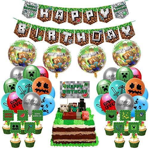 Osugin Pixel-Stil Geburtstagsparty-Zubehör, Spiel-Party beinhaltet Pixel-Spiel Happy Birthday Banner, Kuchenaufsätze Ballons und Band für Minecraft-Mottoparty-Gastgeschenke