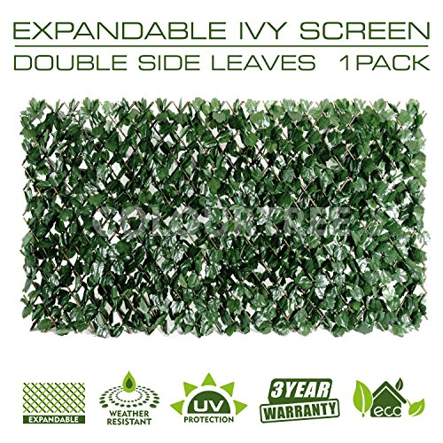 ColourTree Expandable Rectractable Faux Artificial Ivy Trellis Hedge Fence Screen Privacy Screen Wall Screen - Commercial Grade 150 GSM - Heavy Duty - 3 Years Warranty (2, Double Sided Leaves)