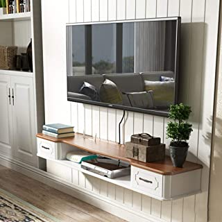 XUQIANG Estantería de Estante for TV gabinete de Entretenimiento Multimedia Consola de Juegos estantería con Muebles flotantes de 2 cajones Plataforma de Montaje en Pared