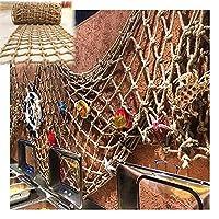 ネット 安全 ネット地中海の漁網 階段手すり 麻ネット 折りたたみ式 多目的 額縁壁飾り 写真の装飾 、カスタマイズ可能 Gzhenh (Color : Beige-12cm, Size : 1x1m)