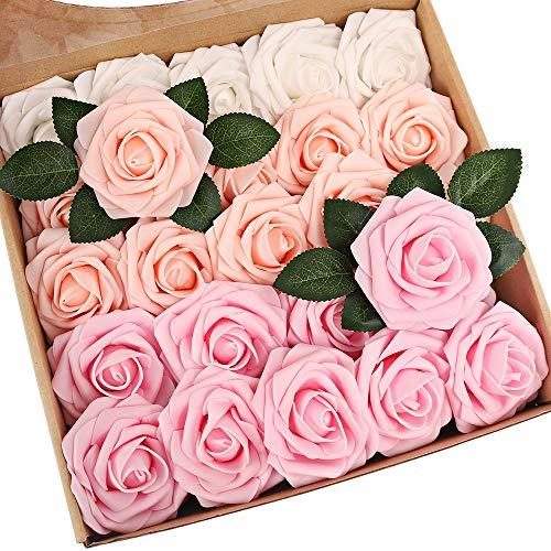 N&T NIETING Künstliche Blume Rosen, 25 Stück Deko Blumen Fake Rosen mit Stielen DIY Hochzeit Blumensträuße Braut Babydusche Party Zuhause Dekoration, Series Rosa