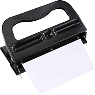 Heavy Duty 3 Hole Punch, Adjustable 2-3 Hole Puncher, Low Force, 40 Sheet Capacity, Black