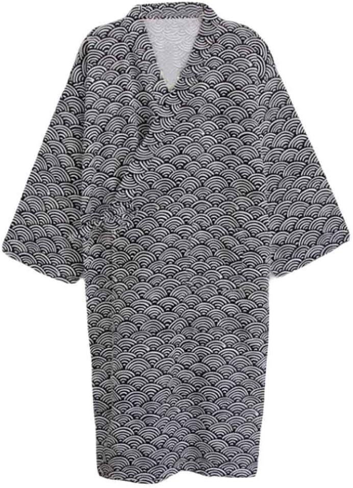 Pigeon Fleet Mens Cotton Kimono Robe Lightweight Spa Bathrobe Pajama, Black