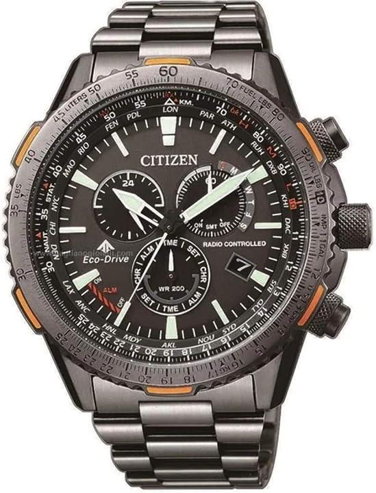 Orologio cronografo uomo eco drive nero pilot radiocontrollato citizen CB5007-51H